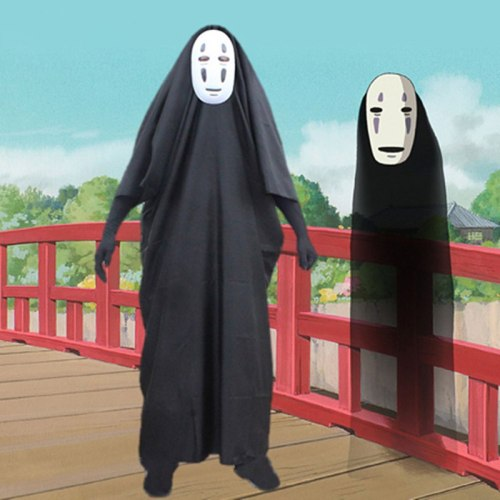 No Face Man Spirited Away Cosplay Costume for Halloween Costumes Anime Miyazaki Hayao Faceless Cloak with Mask Gloves