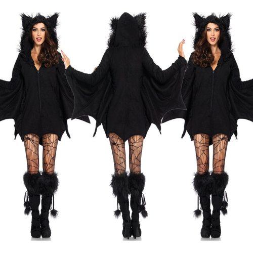 Batwoman Costume Animal Cosplay Cloak Romper with Zipper Halloween Vampire Demon Masquerade