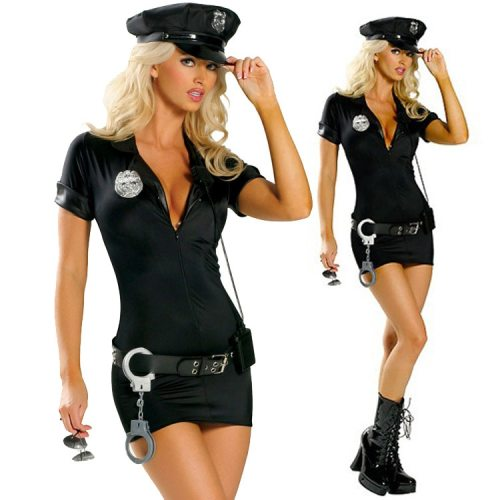 Sexy Black Cop Officer Costume Ladies Policewomen Cosplay Uniform Outfit