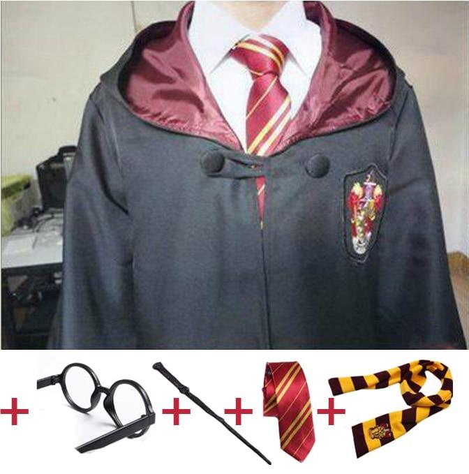 Harry Potter Gryffindor Cosplay Costume Robe Cloak+Scarf+Tie Suit Fancy Dress