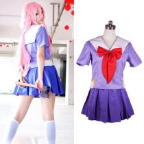 Future Diary Gasai Yuno Mirai Nikki School Uniform Cosplay Costume Suit Wig