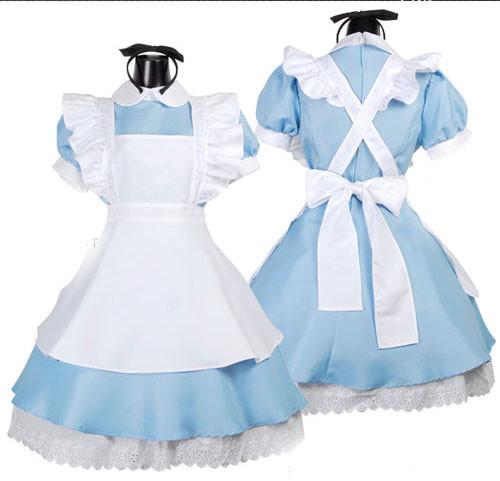 Halloween Anime Alice In Wonderland Blue Party Dress Alice Maid Lolita Cosplay Costume
