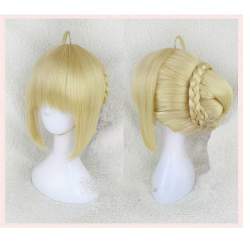 Fate stay night Arturia Pendragon Saber wigs Cosplay Costume Fate Grand Order Women Synthetic Hair Halloween Party Role Play wig
