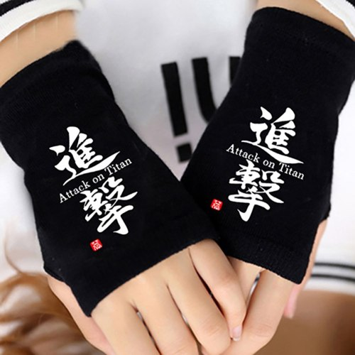 Anime Attack on Titan Finger Cotton Knitting Wrist Gloves Mitten Lovers Anime Accessories Cosplay Fingerless Gift HOT Fashion