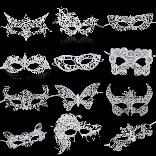 1 Pcs White Lace Masks Sexy Lace Half Face Party Masquerade