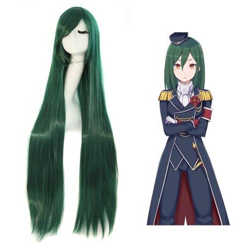 Re:zero Crusch Karsten 100cm Long Straight Dark Green Anime Cosplay Wig