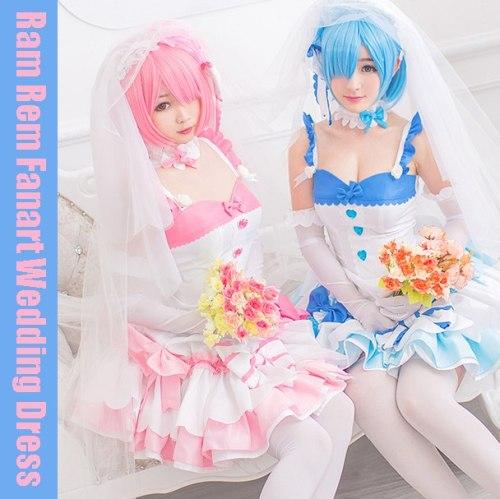 Re:Zero Rem Ram Wedding Dress Cosplay Costume Lolita Dress