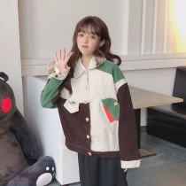 Harajuku Retro Doll Collar Corduroy Jacket