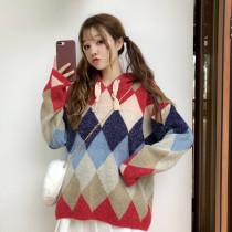 Harajuku Diamond Loose Hooded Knit Sweater Jacket