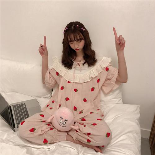 Harajuku Cute Strawberry Pajama Set