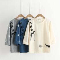 Harajuku Kawaii Sweet Strap Black Cat Embroidery Cotton T-Shirt