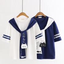 Harajuku Kawaii Cat & Fish Print Round Collar Student Tops T-shirt