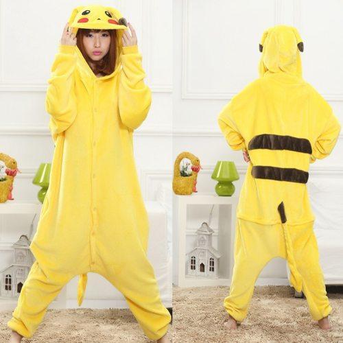 Pikachu Cute Flannel Homewear Onesies Hooded Pikachu Animal Pajamas