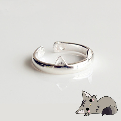 Kitten Ears & Claws Animal Silver Plated Ring