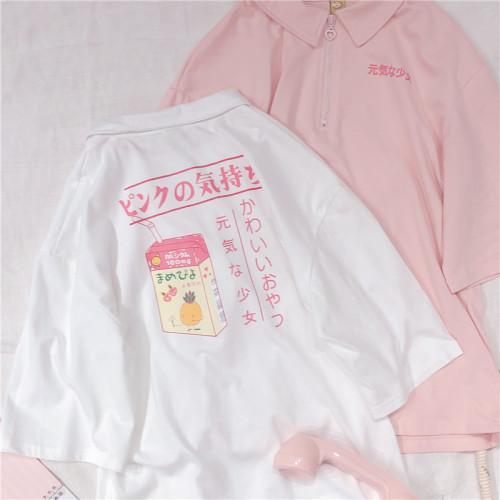 Harajuku Genki Girl Print Pink Polo Student Top T-shirt