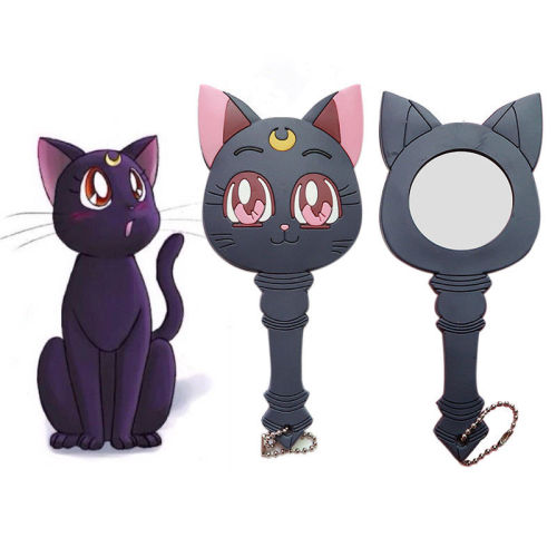 Anime Sailor Moon Luna Purple Cat Make Up Mirror Handle Girls Portable Cosplay