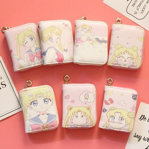 Anime Sailor Moon Mini Zipper Wallet Cosplay Cute Girl Student Pink Kawaii Coin Purse
