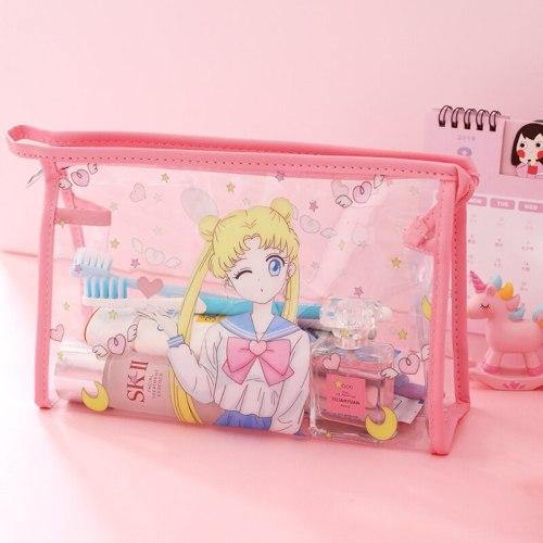 Sailor Moon Transparent Waterproof Portable Travel Cosmetic Makeup Bag