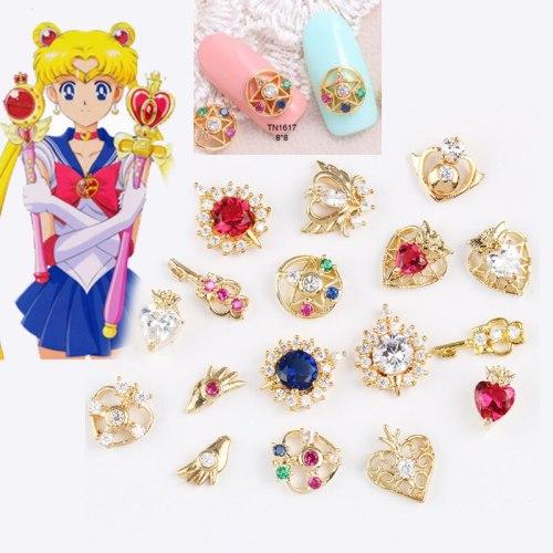 20pcs/set Sailor Moon Cosplay Nail Stickers Anime 3D Manicure Sticker Nail Art