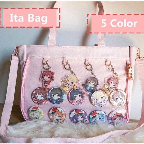 Japanese Lolita Transparent Shoulder Bag Canvas Single Side Handbag JK Cosplay