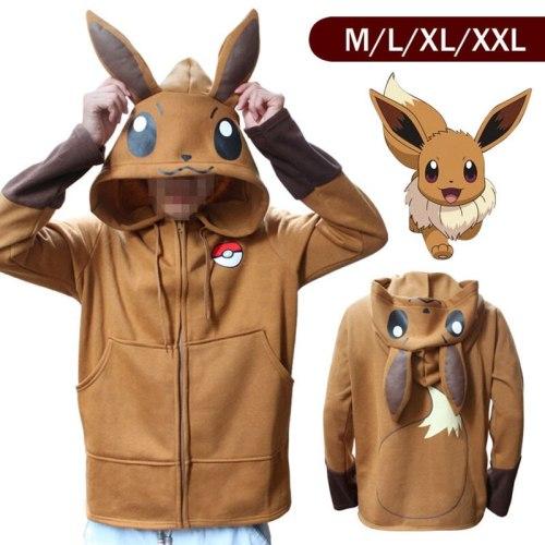 Halloween Costume Anime Pokemon Eevee Hoodies Sweatshirts Cosplay Jackets