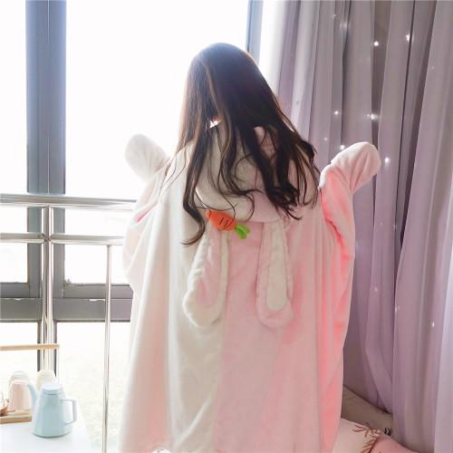 Cute Bunny Super Soft Hooded Shawl Kawaii Bear With Ear Cloak Wearable Blanket