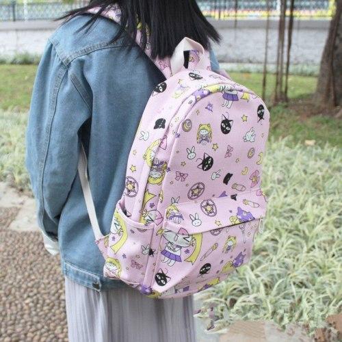 Anime Sailor Moon Canvas Girls Travel Schoolbag Backpack Student Shoulder Bag