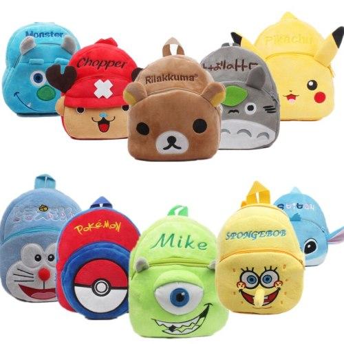 Anime Stitch Totoro ONE PIECE Pokemon Pikachu Toddler Schoolbag Backpack Student Shoulder Plush Bag