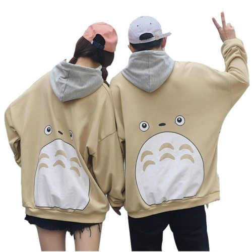 Couple Totoro Print Hoodies Japanese Harajuku Pullover Streetwear
