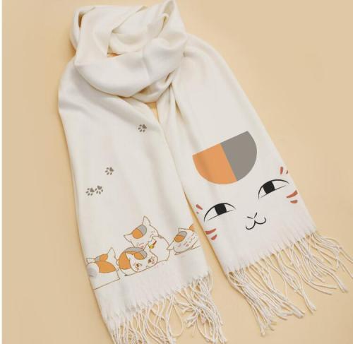 Natsume Yuujinchou Scarf Cosplay Soft White Warm Cute Winter Scarf Shawl