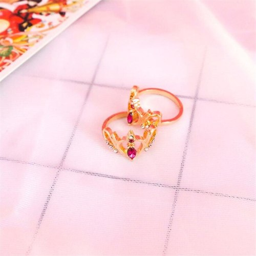 Anime Sailor Moon Cosplay Props Metal Ring Cute Crown Heart Ring
