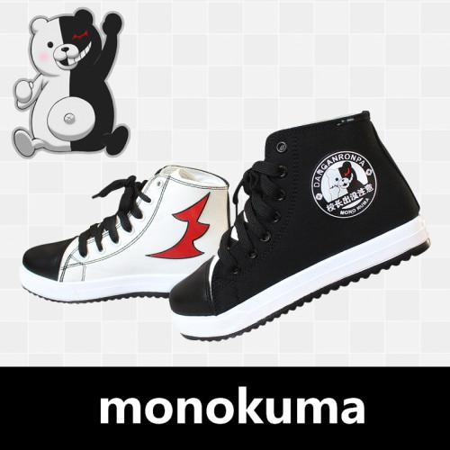 Anime Danganronpa Black and White Bear Monokuma Cosplay Props Canvas Shoes