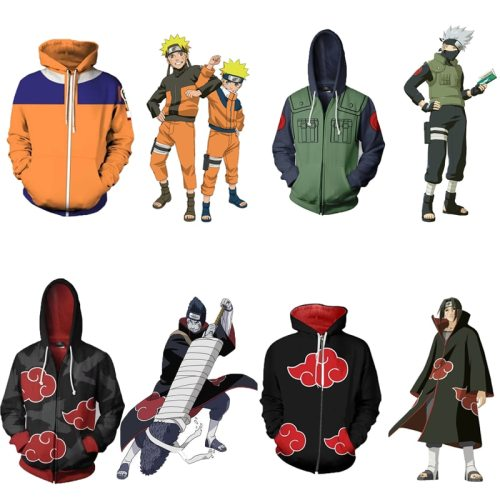 Japanese Anime Naruto Cosplay Jackets Clothes Costumes Uzumaki Akatsuki Haruno Sakura Hat Clothing Tops