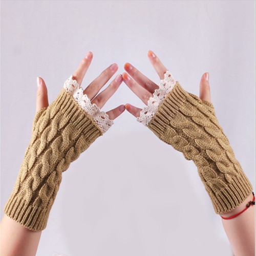 Harajuku Knitting  Gloves Chic Warm Winter Women Arm Crochet