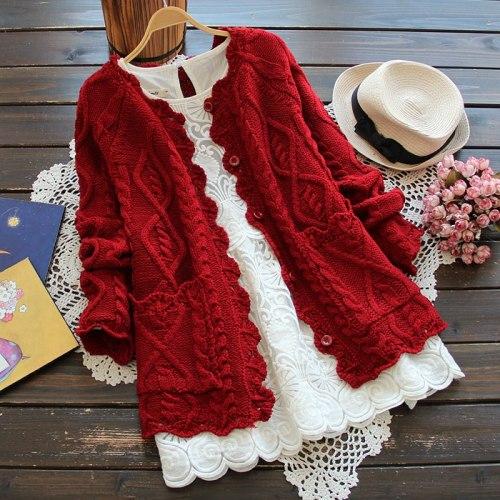 Harajuku Kawaii Red Christmas Knitting Cardigan