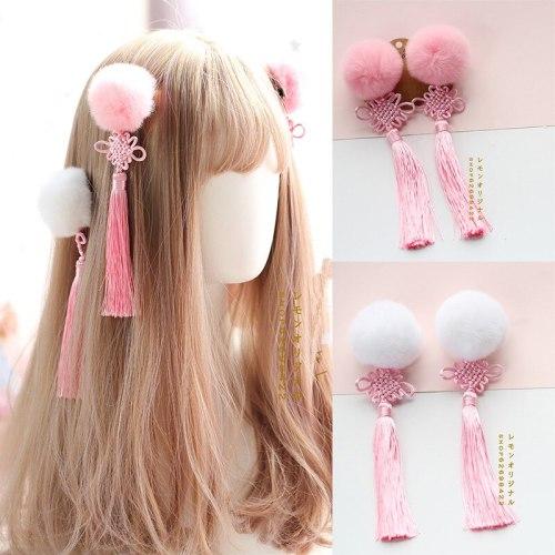 Chinese style Women's Lolita kawaii Cheongsam Hanfu Hair Accessories cosplay Hair Ball Hair Clip Pink Tassel Side clip 1 pairs