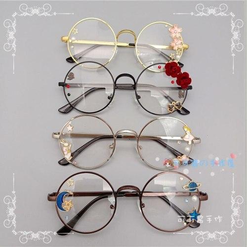 Sweet Lolita Cherry Blossom Glasses Harajuku Cosplay Handmade Retro Eyeglass