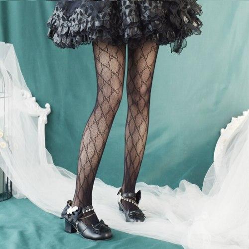 Gothic Japanese Harajuku Lolita Girls Bow Silk Stockings Women's Sexy Black Hollow Pantyhose Female Summer Punk Socks Thin Tight
