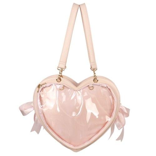 Lolita Japanese Cute Bow Heart-shaped Transparent Itabag Handbag Backpack Bags L