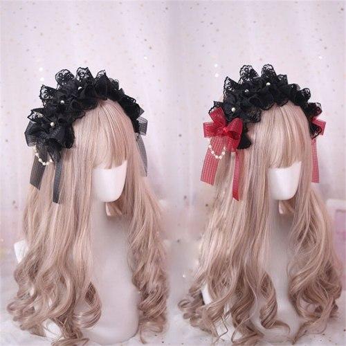 Japanese Style Gothic Lolita Bow Lace Headwear Handmade Pearl Chain Decorate Headband Hair Accessories Black Red Hair Band