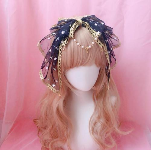 Sweet Lolita Kawaii Bow Lace Trim Bell Pendant Headband Fairy Cosplay Headwear Hair clasp KC Hair Band Stars Hair Accessories