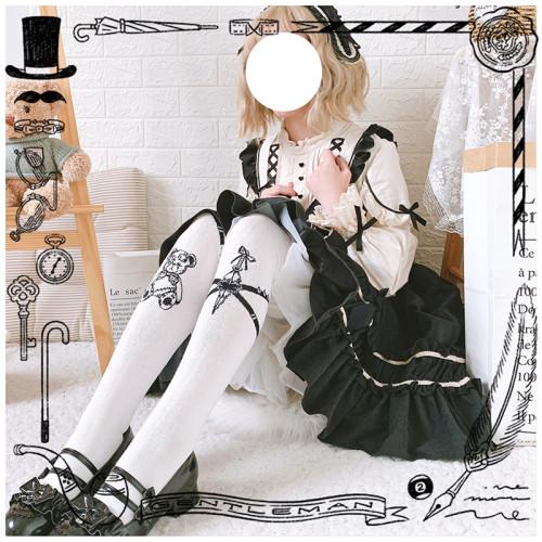 Assassination Bear Sweet Lolita Japanese Gothic Cosplay Over Knee Stocking