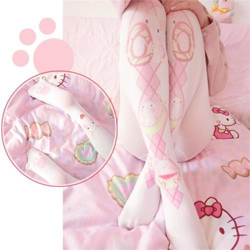 Harajuku Kawaii Greedy rabbit Knee-high Stockings Tights Cute Strawberry Donut Printed Women Anime Cosplay thigh high socks