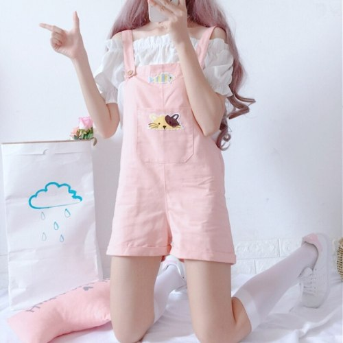 Sweet Women's Cute Cat Embroidery Loose Overalls Shorts Preppy Style Summer Women Japanese Harajuku Kawaii Suspender Trousers