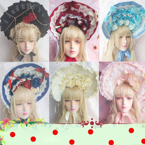 Vintage Princess Sweet Lolita Rose Bonnet Headwear Gorgeous Gothic Top Hat Sun Hat Women's Lace Victorian Soft Wire Brim Bonnet