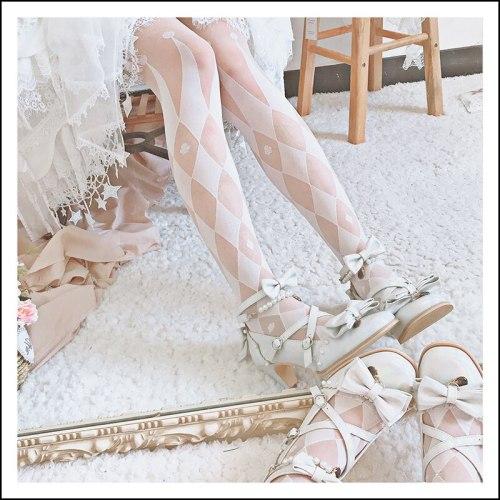 Gothic Circus key Lolita Knee-high socks Cone Glass Thin Stocking Summer Japanese Female Cosplay diamond-type lattice pantynose