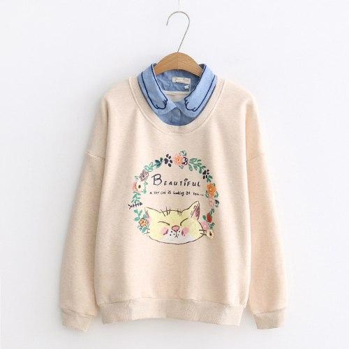 Harajuku Super Cute Cartoon Cat Print Fflocking Sweater