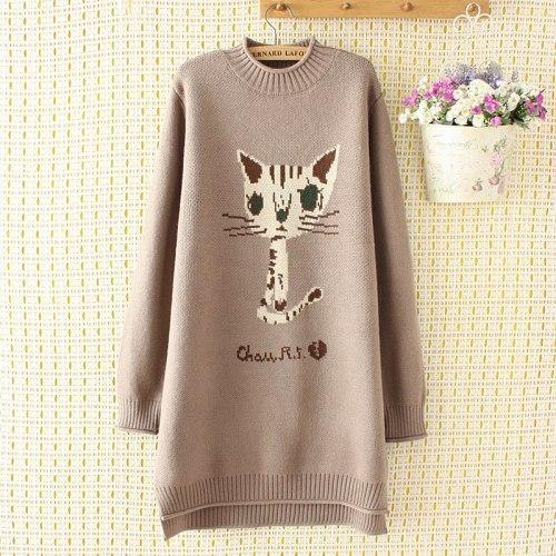 Academy Style Cartoon Kawaii Cat Long Knitted Sweater