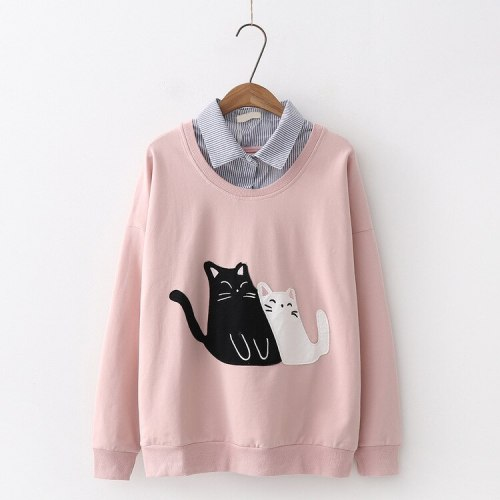 Japanese Elegant Harajuku Embroidered Cat Hoodie