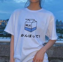 Kawaii Sweet Beauty Harajuku Milk Cartoon Print T-shirt